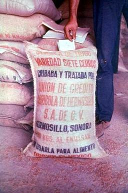 Grain sack with a warning