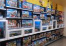 Lego sets in a toy store