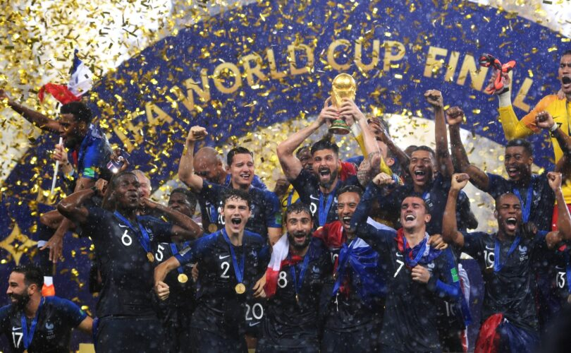 France national football team holding the World Cup trophy