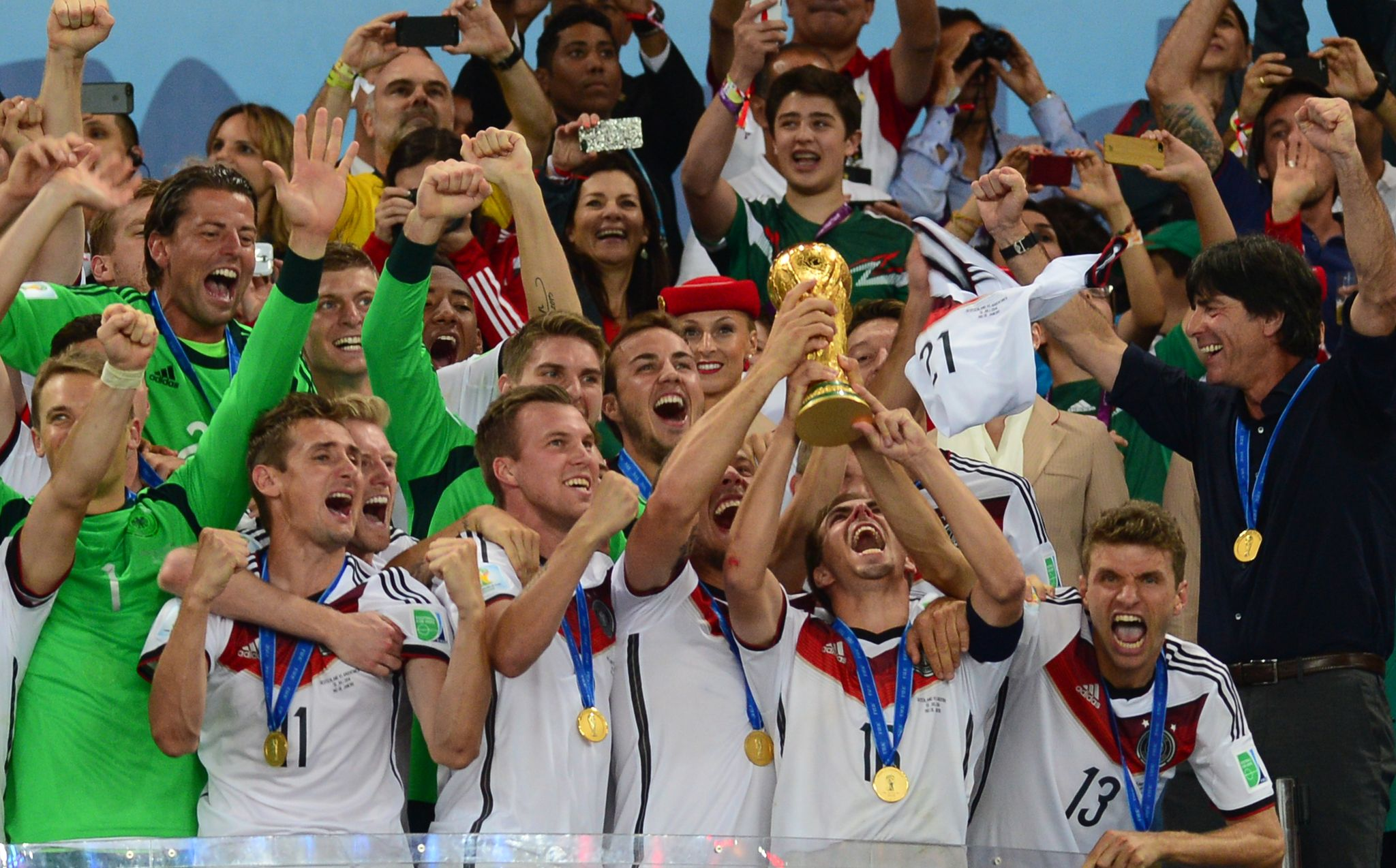 Germany national football team holding the World Cup trophy